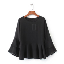 Dioufond Casual Solid Chiffon Shirt O-neck Ruffles Women Blouses Loose Butterfly Sleeve Ladies Tops Fashion Simple Black Blusas(China)