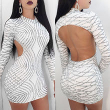 Sexy Womens Long Sleeves Sequins Striped Crochet Silver Mini Dress Clubwear Party Backless Pencil Dresses Short Summer Vestidos(China)
