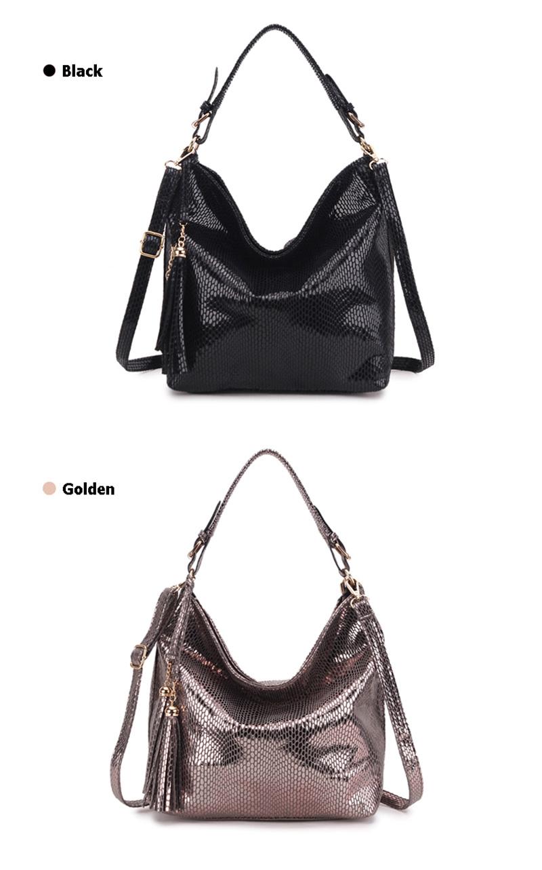 Women Snake Leather Shoulder Bag Female Serpentine Pattern Hobos Bags Tassel Big Handbag Luxury Designer Ladies Tote SS0309 (6)