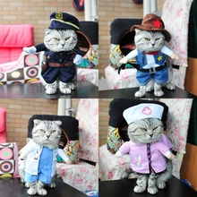 Funny Dog Clothes Christmas Pet Costume Policeman Nurse Suit Clothing For Cat Halloween Costume Kitten Puppy Uniform Hat Suit(China)