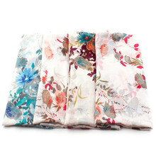 2016 New viscose women floral scarf  Fancy flowers women hijab viscose scarfs oversize fashion good quailty shawl unique style