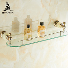Bathroom Shelves Wall Mounted Jade Golden Bathroom Shelf Brass Made Base + Glass Shelf Single Tier Bathroom Accessories HY-28(China)