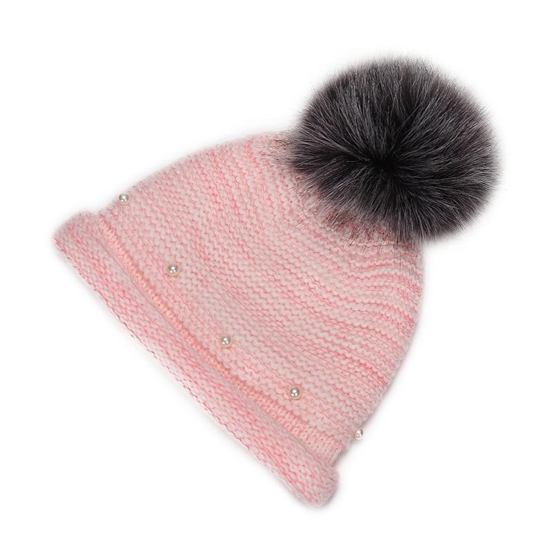 MNKNCL Autumn winter beanies hat unisex knitted wool Skullies casual cap with real raccoon wool fur pompom solid colors ski gorrÎäåæäà è àêñåññóàðû<br><br><br>Aliexpress