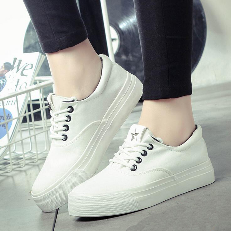 2017 Spring Fall Fashion Canvas Women Casual Shoes Comfort Breathable Platform Lace Up Flat Female Shoes Black White XP55<br><br>Aliexpress