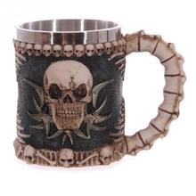 Personalized Stainless Steel 3D Skull Mugs Coffee Mugs Mug Skull Drinking Red wine Beer Pirate Gothic Mugs Cool Canecas Copo