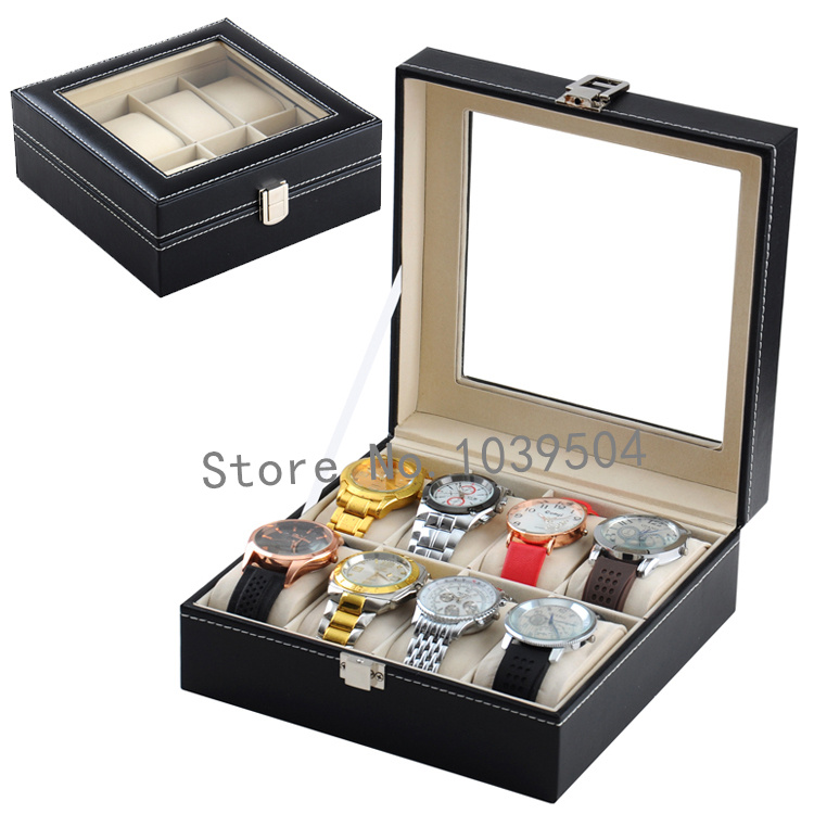 Square 8 Grids Leather Watch Display Box Top Quanlity Watches Box Upscale Solid Watch Storage Boxes Jewelry Packing Box D185<br>