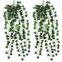 Hot! 2 Pcs Home Garden Wall Decoration Outdoor Artificial Hanging Vine Plant Leaves(China)