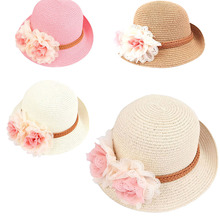 2016 Cute Flower Decorate Baby Girls Children Hats Sun Beach Caps For Summer 4Colors For Choose
