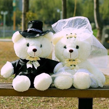 20CM 2016 Couple Soft Wedding Teddy Bear Toy High Quality PP Cotton Stuffed High Quality Plush Bears Girlfriend Birthday Gifts(China)