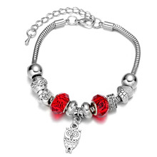 Cheap fashion Jewelry Silver Plated wiht Charm Bead Owl Shaped Pendant Bracelet and Bangle for Women Gift
