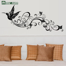 Maruoxuan Large Removable Wall Sticker Flying Lucky Bird Phoenix Flowers Vinyl Decal For Home Decoration Living Room Wall Decor