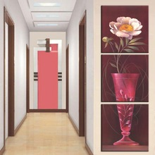 3 Pcs/Set Artist Canvas  some flowers and a vase  vertical forms Canvas Prints Wall Pictures for Living Room Picture