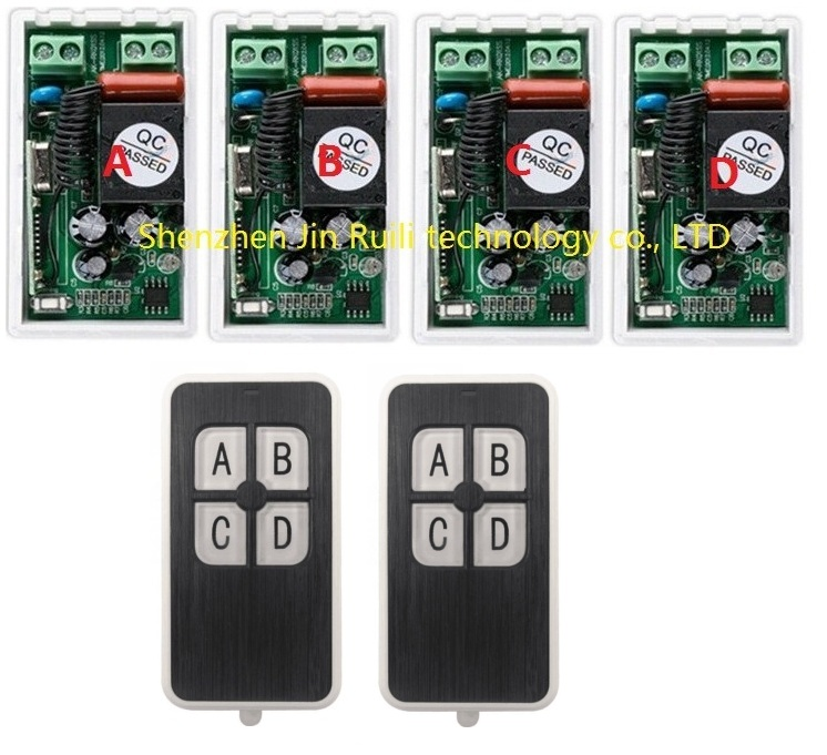 AC220V 1CH 10A RF Wireless Remote Control Switch System 433 MHZ 2 transmitter &amp; 4 receiver relay Receiver Smart Home Switch<br><br>Aliexpress