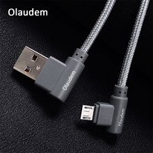 Olaudem Micro USB Cable 90 Degree 2m Nylon Braided 2A 5V Cord Charging Micro USB Data Cable Fast Charging Phone Cables CB036