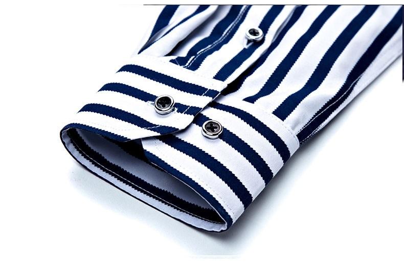 2018 New Men's Striped Male Shirts Cotton Men Shirt Mens Clothing Chemise Social casual Slim fit Dress Homme Shirts men K036 12