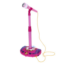 Cute Pink Kids Toy Microphone Musical Instrument Karaoke Singing Tool LED Microphone with Lift Holder Educational Music Toy