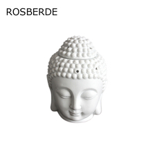 Ceramic Buddha statue oil burner candle lamp head censer ceramic burner oil burner transparent white porcelain censer(China)