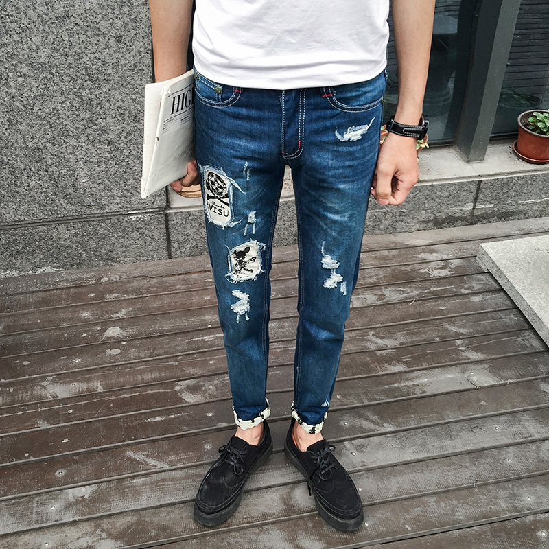 2017 New Popular Style Hole Patch Patch Beggars Slim Jeans Pants Men Mens Large Size Fashion Ripped Jeans Trousers Hot SaleОдежда и ак�е��уары<br><br><br>Aliexpress