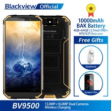 Blackview BV9500 10000 мАч IP68 Водонепроницаемый 5,7 дюйма FHD 18:9 MT6763T восьмиядерный смартфон 4 ГБ + 64 ГБ 16.0MP камера Android 8,1(China)