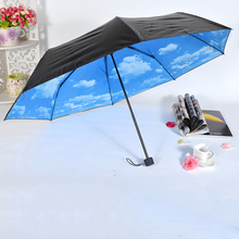 Blue sky umbrella folding Sunshade vinyl umbrellas folded umbrella black coating for rainy & sunny day