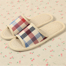5 Colors Hot Sale Summer Lover Women&Men Home Shoes Plaid Linen Indoor Sandal Non-slip Ventilation Couple Floor Slippers Panas
