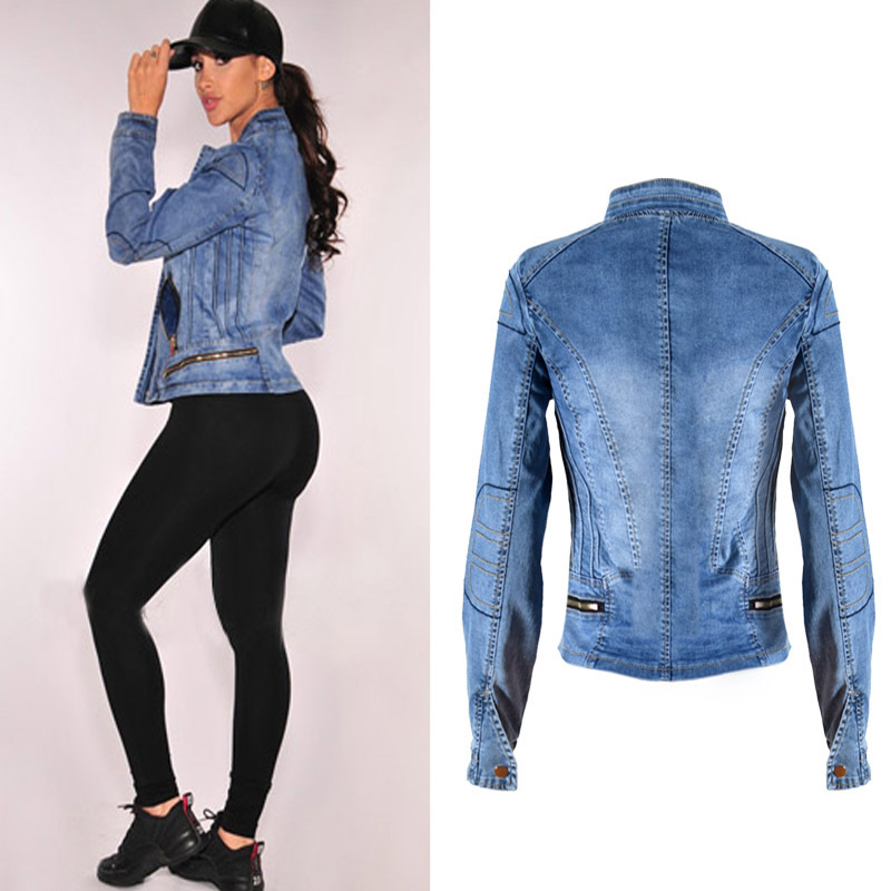 2017 New Hot Sale Popular Women Baseball Jackets Stretch Denim Jacket Multi-zipper Short Motor Style Chaqueta Female Denim Coats (5)