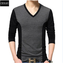 men's cotton t-shirts new arrival large size long sleeve patchwork slim T-shirt homme men clothing casual V-neck Tops & Tees