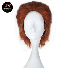 Miss U Hair Men Unisex 33cm Short Straight Hair Synthetic Auburn Black Red Color Halloween Cosplay Costume Wig Role play wig(China)
