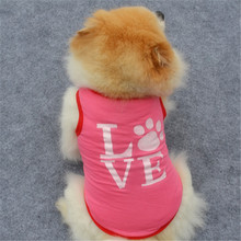New Fashion Summer Cute Dog Pet Vest Puppy Printed Cotton TShirt love printing doggy cloth clothing dog Sportswear soccer jersey(China)
