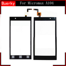 BKparts High Quality 5pcs For Micromax Canvas Fire 2 A104 Touch screen panel Glass Digitizer Replacement black and Free shipping(China)