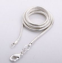 C03 Promotion! wholesale silver plated necklace, silver fashion jewelry Snake Chain 1mm Necklace 16 18 20 22 24 INCHES(China)