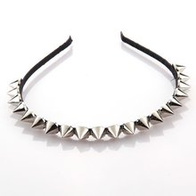 Silver Metal Stud Rivet Spike Headband Hair Head Band Punk Girl
