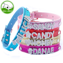 Dog Pet Puppy Collars Customized Personalized Rhinestone Name Charms Colorful XS S M L