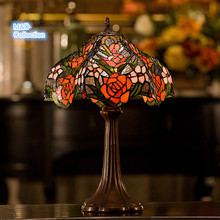Retro Stained Glass Tiffany  Baroque Flower Talbe Lamp for living room bed room study room Creative Gift