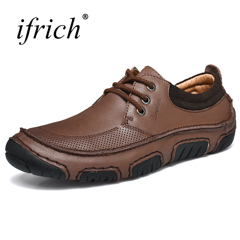 Ifrich New Arrival Shoes Men Lace Up Cow Leather Casual Shoes Men Summer Autumn Rubber Comfortable Footwear Comfortable<br>