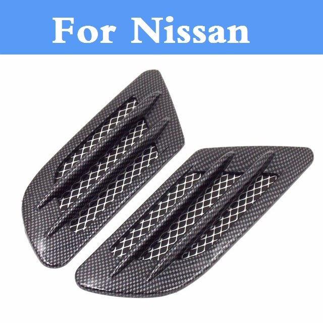 Carbon fiber Shark Gills Shape Intake Grille Wind Net Sticker Nissan Teana Terrano Tiida Versa Wingroad X-Terra -Trail March