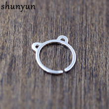 shunyun 925 Sterling Silver Ring Fashion Cat Ring Women Jewelry Gift Finger Open Rings Bear Ear Ring Adjustable Size Cute Animal