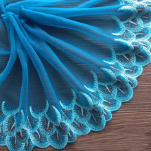 Free shipping 2y/lot 21cm wide Embroidered Floral Tulle Lace Trim Blue Pteris Inlaid silver wire for dress(China)