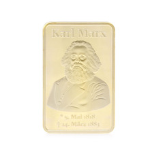 Gold Plated Kail Marx Commemorative Challenge Coins Souvenir art Collection Gift C42(China)