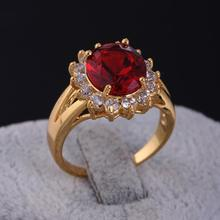 Wholesale Classic Fashion Jewelry  Gold-Color Sunflower Red CZ Cubic Zirconia Wedding Women Rings Free Shipping