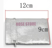 1000pcs/lot Silver Plated Satin Gift Bags With Drawstring Jewelry Gift Bags Wedding Decoration Candy Packaging Pouch 9x12cm