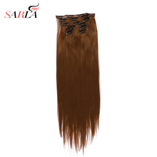 "SARLA 22"" 7pcs/lot Long Straight Full Head Clip in Hair Extensions Synthetic Hairpieces Heat Resistant Fiber 777(China)"