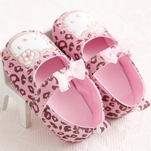 Sweet Cute Very Light Hello Kitty Fashion Leopard Newborn Baby Girl Princess Mary Jane Bow First Walkers Infant Toddler Shoe(China)