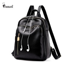 FUNMARDI Vintage Casual Leather Backpacks Fashion Black Women Bag All-match School Bag Trendy Bag With Earphone Hole WLAM0002(China)