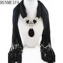 [RUNMEIFA] Body jewelry scarves lady fashion Pure color polyester decoration scarf jewelry with jewellery pendant(China)