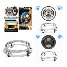 "Car Accessories Motorcycle 7"" Led Headlight Led Lamp + Headlamp Mount Bracket Adapter ring for Jeeep Wrangler JK TJ Hummer H1 H2(China)"