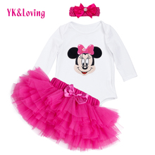 Set For Cute Baby Girl Clothes Long Sleeve T-Shirt+Rose Red Tutu Skirts Baby  Multicolor Tulles  Bow Pettiskirt 2016 YK&Loving