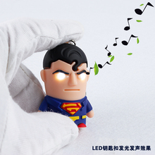 Superman Action Figure LED Light+Sound Cute Garage Kit Mobile phone pendant Car&Bag deco Toy Giveaway Torch keychain keyring
