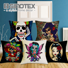 Cushion Cover Christmas Festival 43X43cm Skull Girl Pillow Cases New Year Gift Bedroom Sofa Decoration
