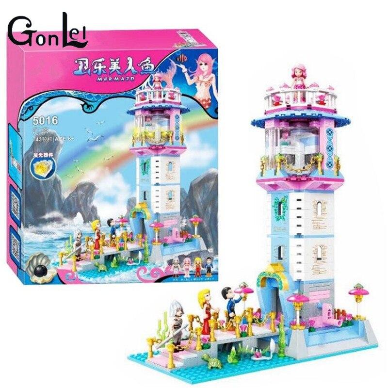 (GonLeI) Friends princess castle Mermaid Princess Lighthouse Building Blocks Girl Friends Kids Toys Compatible with bela<br>